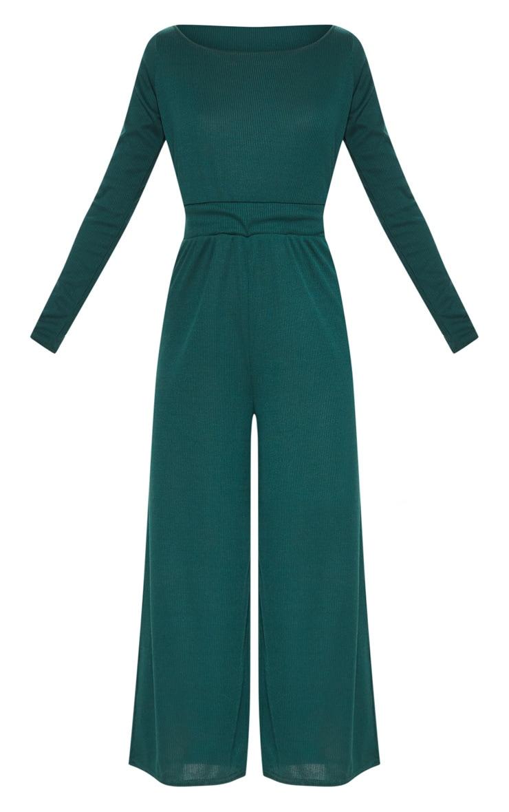 Emerald Green Rib Off Shoulder Culotte Jumpsuit 3