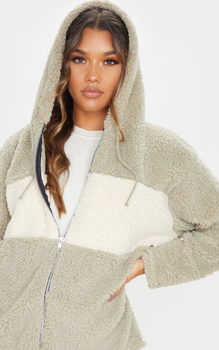 Sage Borg Contrast Hooded Oversized Zip Up Jacket 5