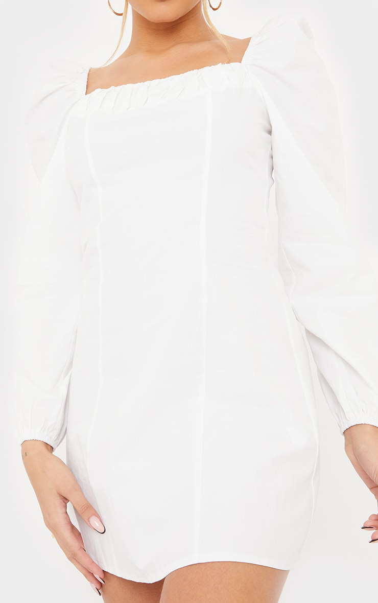White Ruched Detail Puff Long Sleeve A Line Shift Dress 4