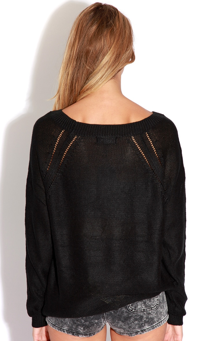 Roxie Black Knitted Stud Jumper 2