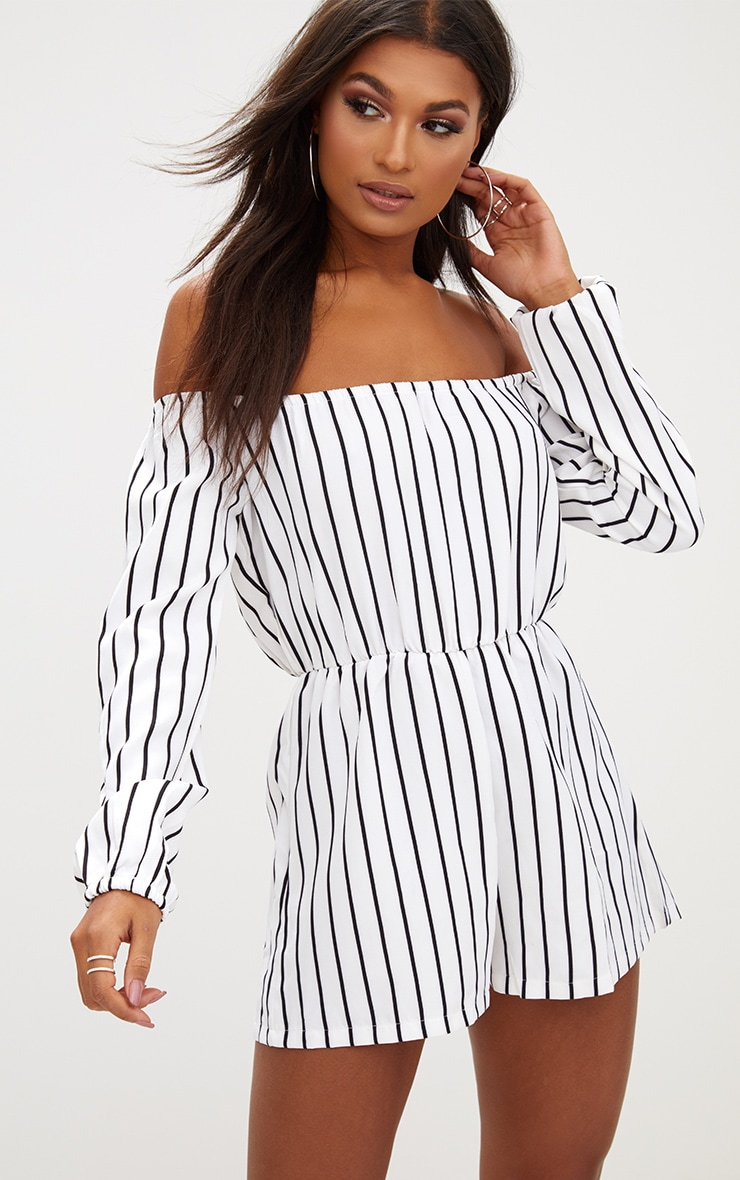 Kennie White Stripe Romper 4