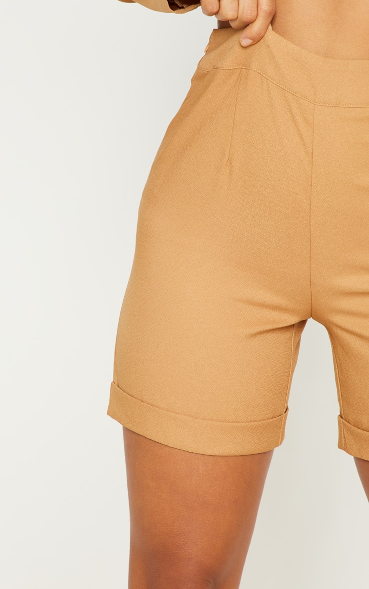 Camel Woven High Waisted Shorts 6