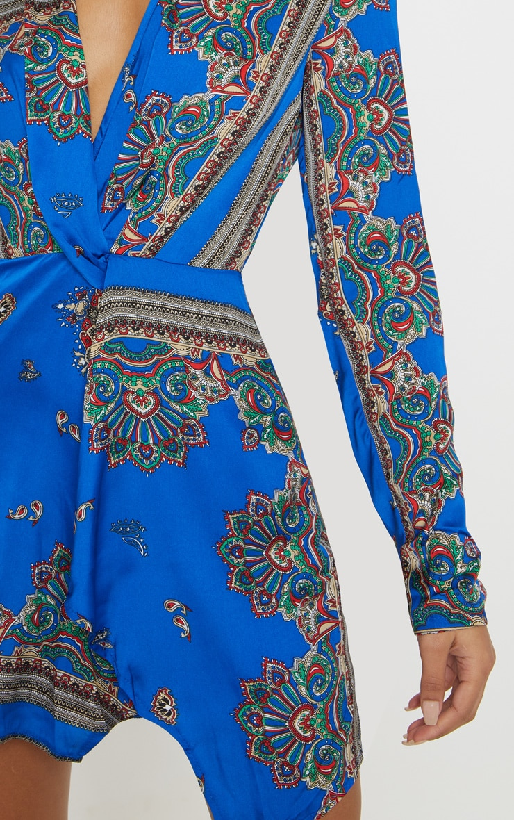 Thandie robe cache-cœur à manches longues soyeuse cobalt 5