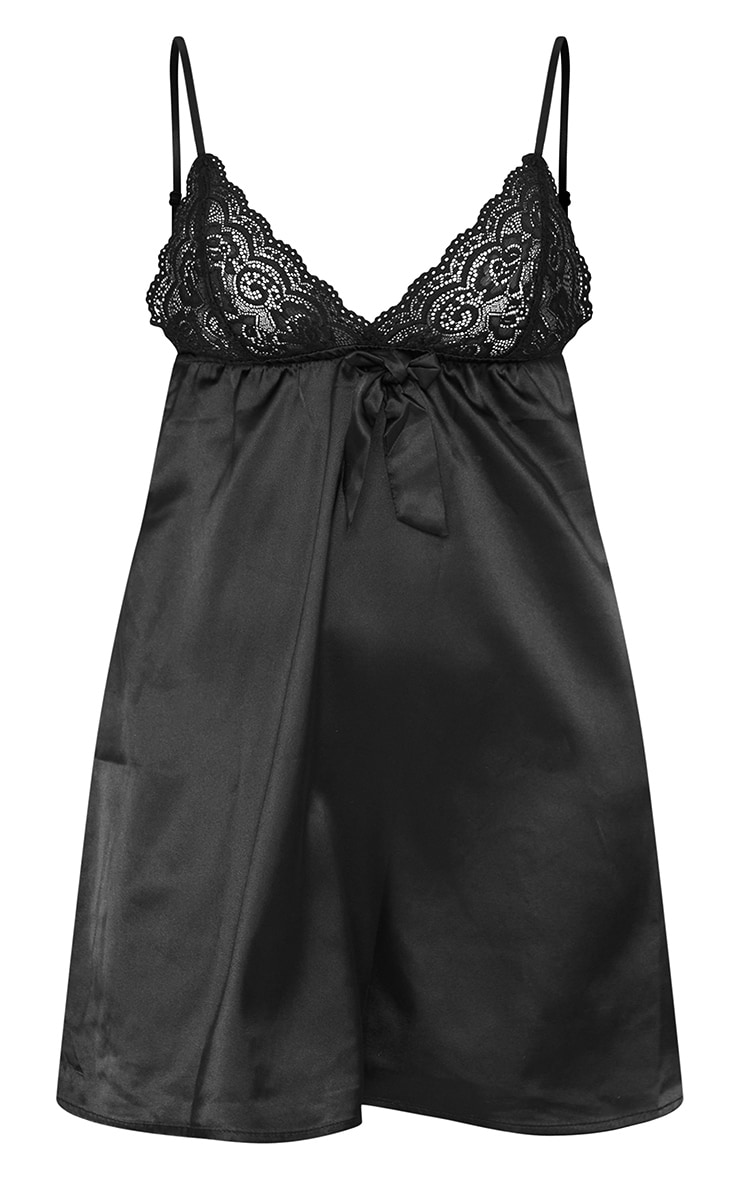 Black Lace Bust Bow Detail Satin Babydoll Nightie 1