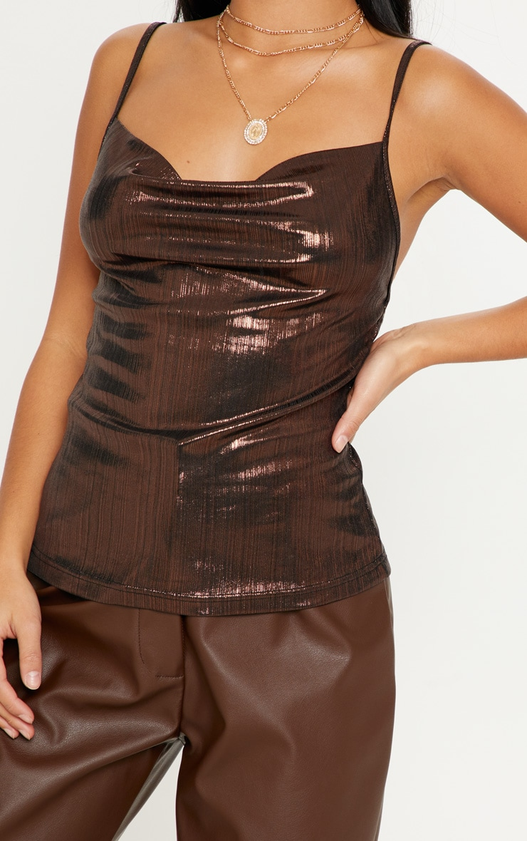 Petite Chocolate Brown Metallic Cowl Neck Cami Top 5