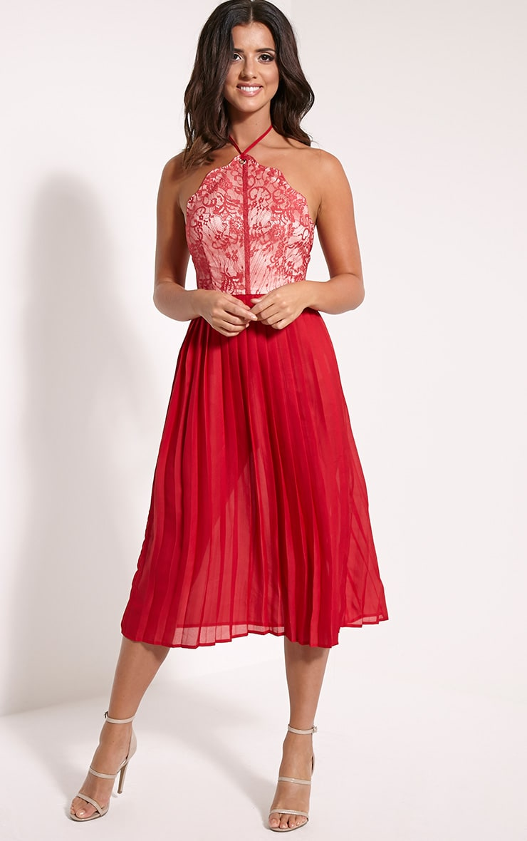 Cristabel Red Lace Halterneck Pleated Midi Dress 1