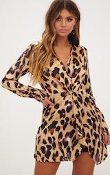 Leopard Print Satin Long Sleeve Wrap Dress 1