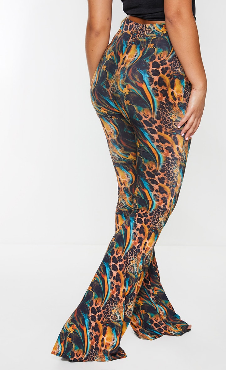 Leopard Print Slinky Flared Trousers 3