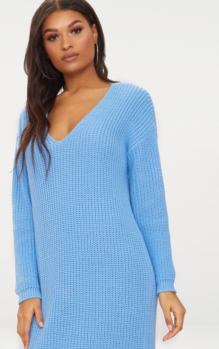 Blue V-Neck Oversized Knitted Dress 5