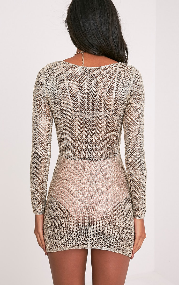Kay Petite Gold Metallic Knitted Mini Dress 2