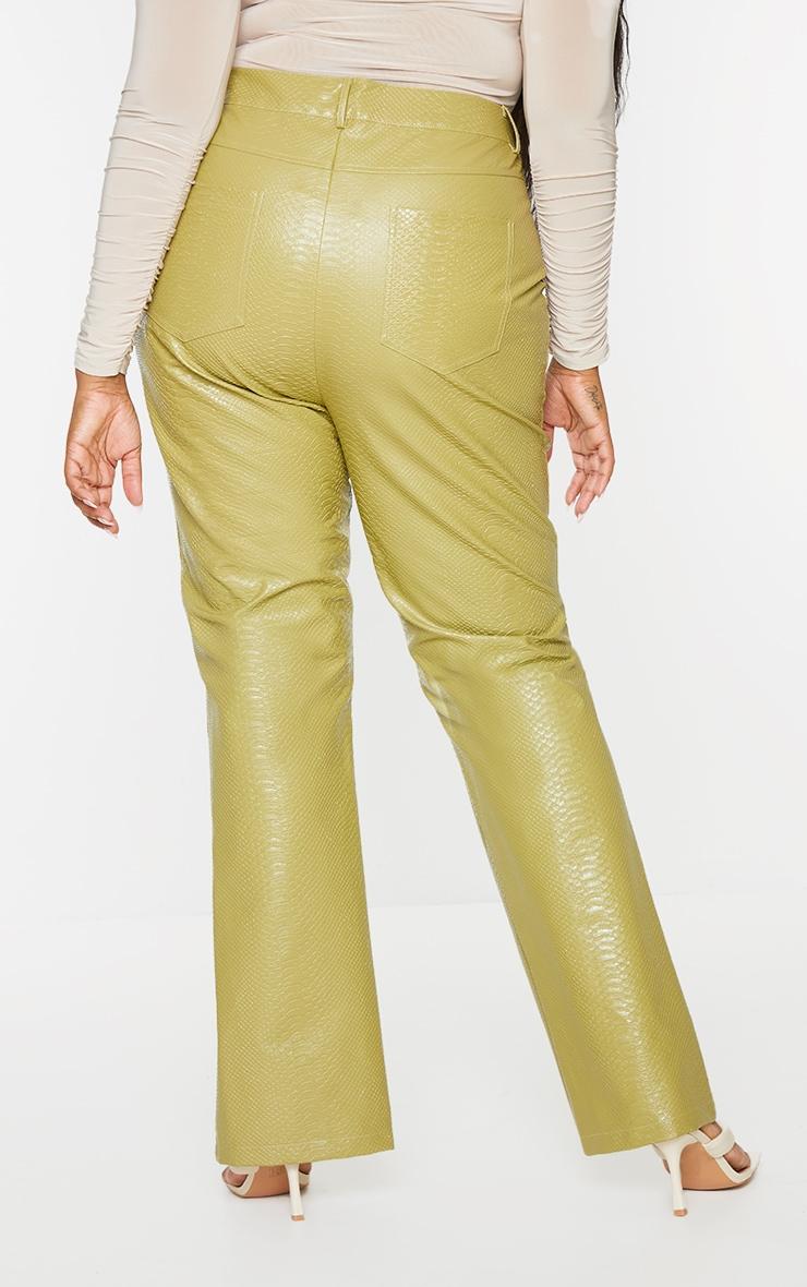 Plus Olive Premium Faux Leather Croc Split Hem Pants 3