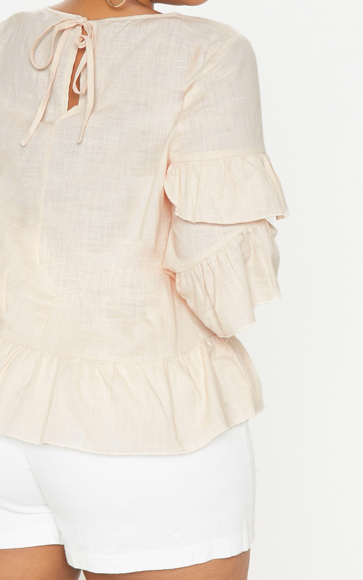 Plus Nude Woven Frill Sleeve Blouse 5