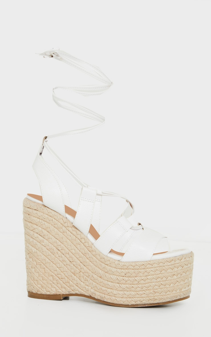 White Raffia Lace Up Wedge Heel 3