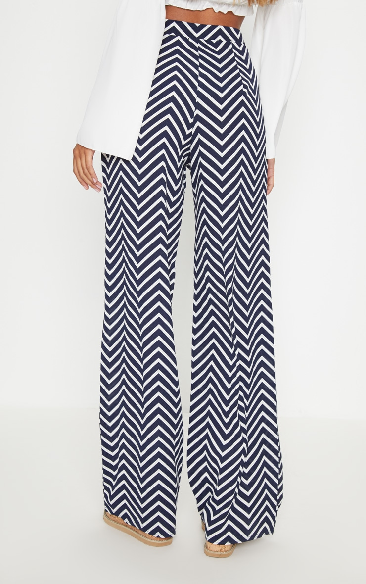 Navy Crepe Chevron Print Wide Leg Trouser 4
