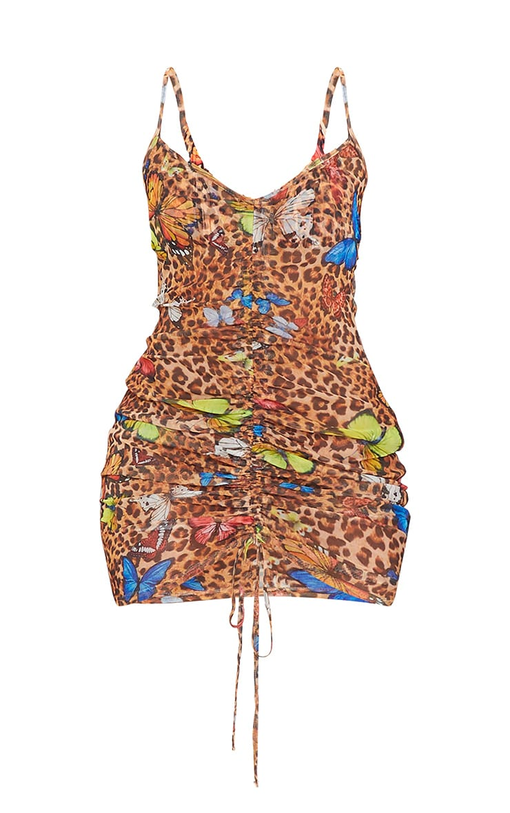 Multi Butterfly Print Ruched Mesh Beach Dress 5