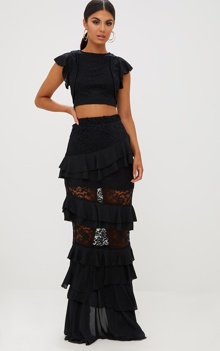 Black Lace Frill Sleeve Detail Crop Top 4