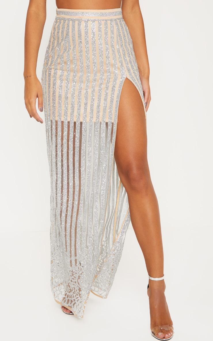 Silver Sheer Glitter Stripe Maxi Skirt  2