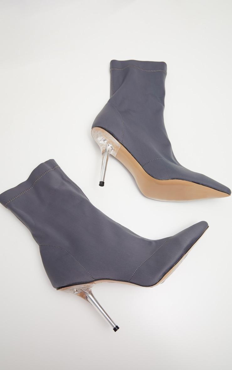 Charcoal Grey Clear Heel Sock Boot  3