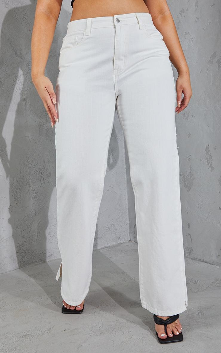 Plus White Split Hem Jeans 2