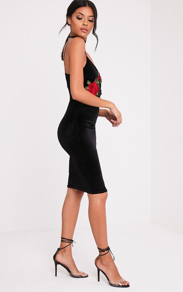 Chelsea robe midi noire en velours à appliqué fleuri 5
