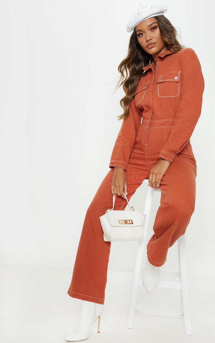 597e4b4709a5 Burnt Orange Denim Boilersuit image 1