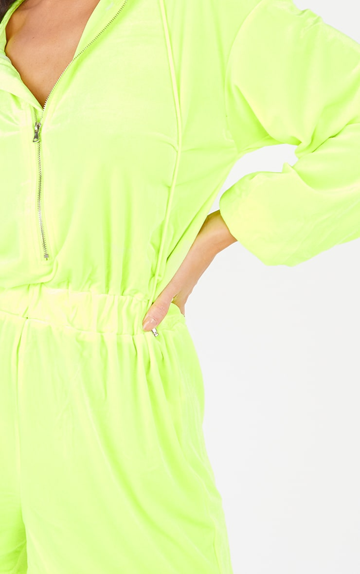 Lime Velour Seam Detail Hooded Playsuit 4
