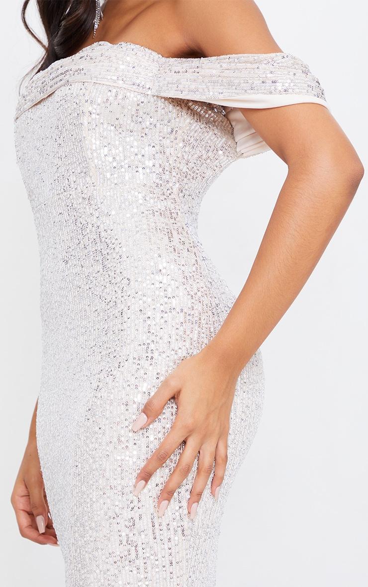 Silver Sequin Drape Bardot Midi Dress 4
