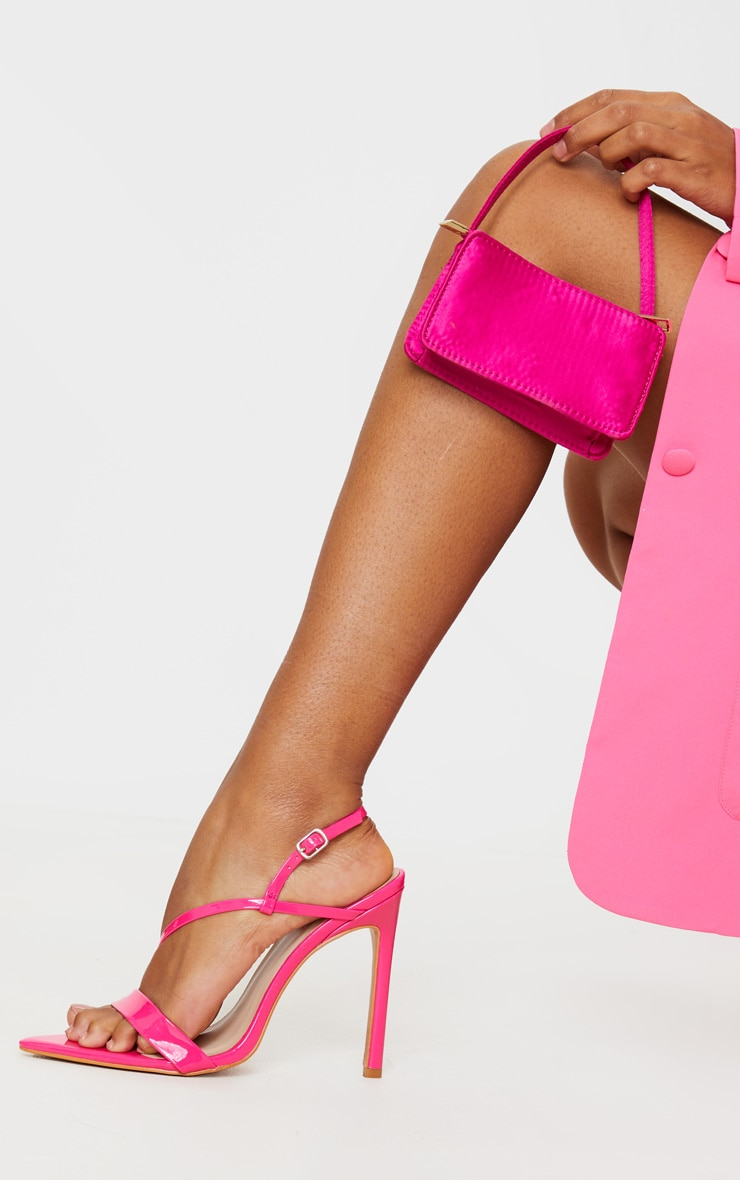 Bright Pink Asymmetric Strap Point Toe Heeled Sandal 2
