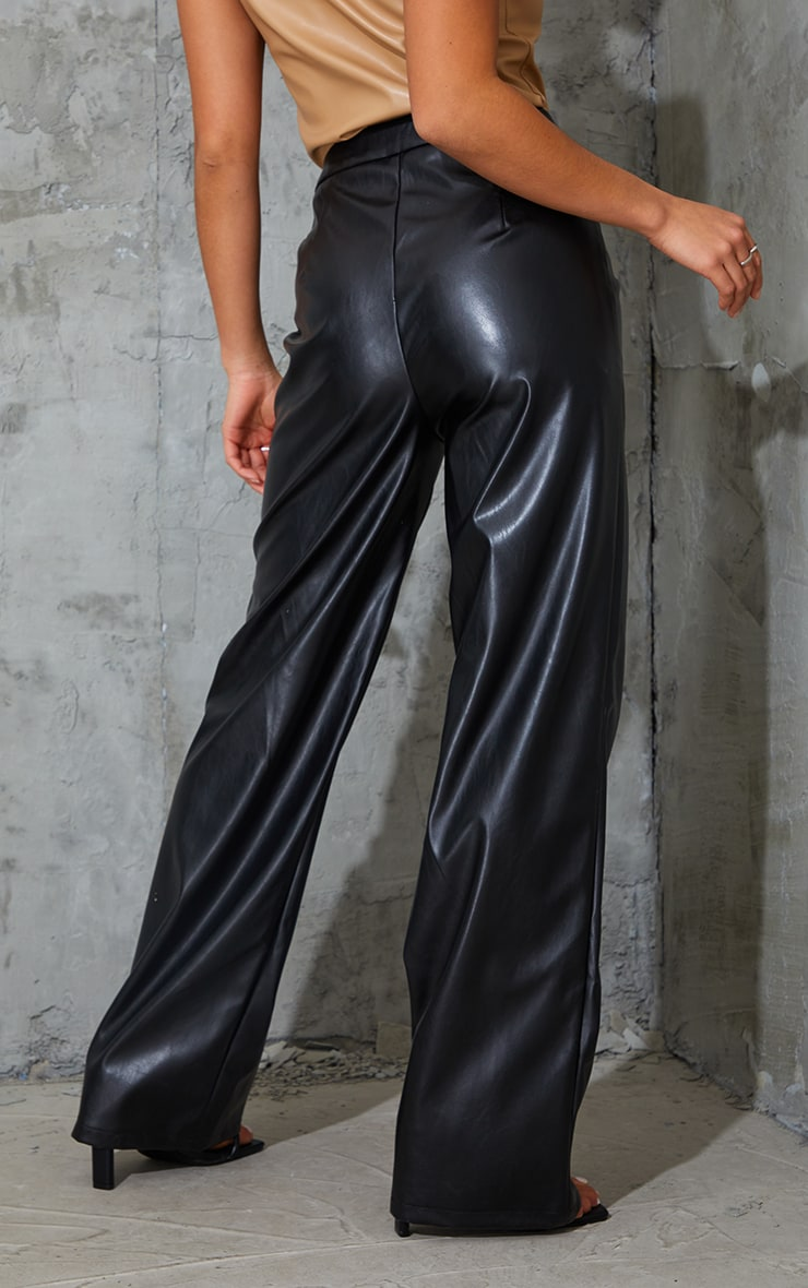 Petite Black Faux Leather Piping Detail Straight Leg Trousers 3
