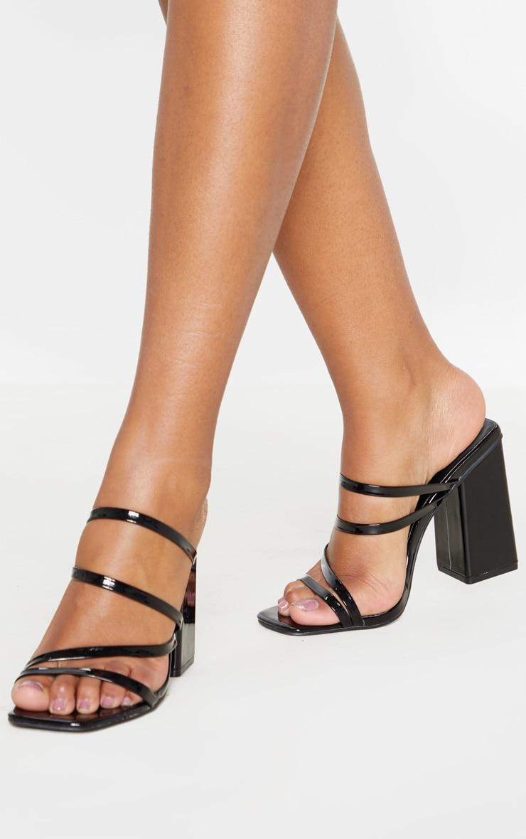 Black Block Heel Strappy Mule Sandal 2