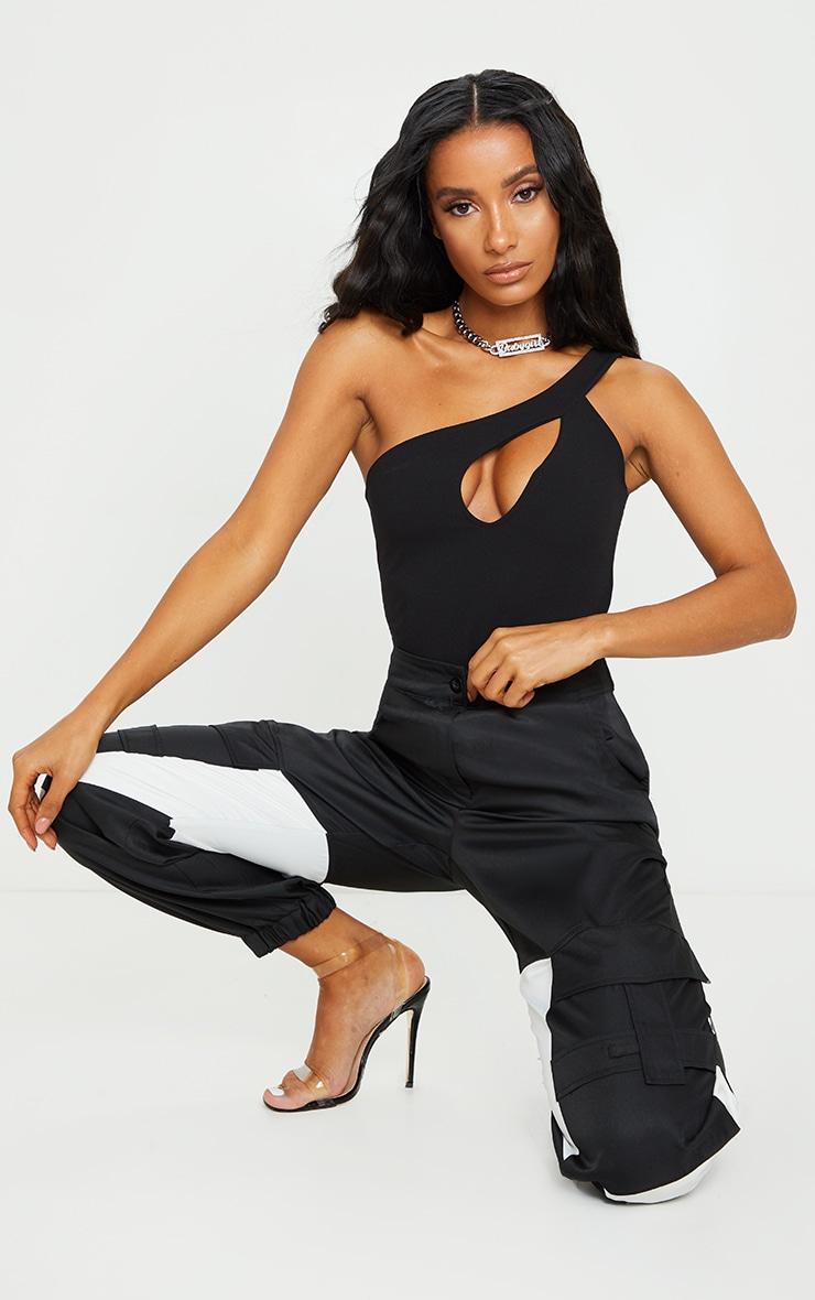 Black Crepe One Shoulder Front Slit Bodysuit 3