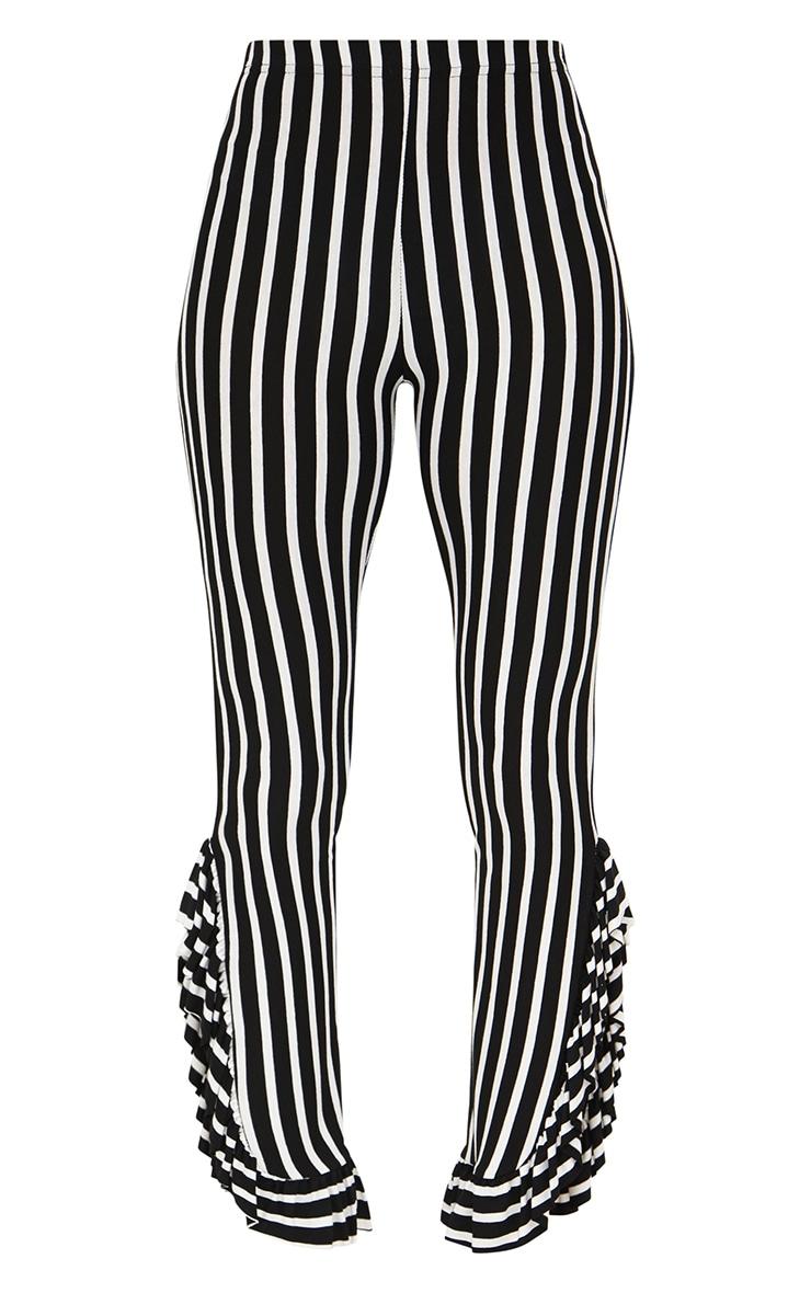 Petite Black Stripe Frill Leg Cropped Trousers 3