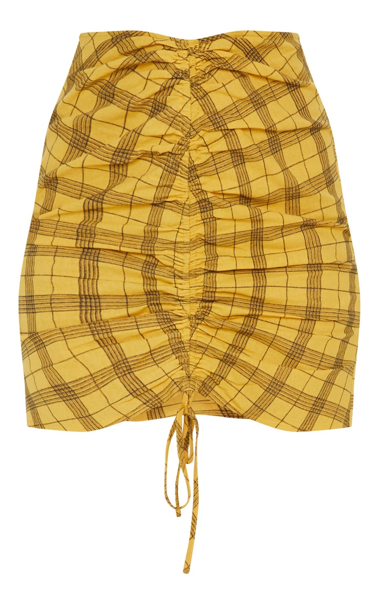 Mustard Check Print Ruched Front Mini Skirt 3