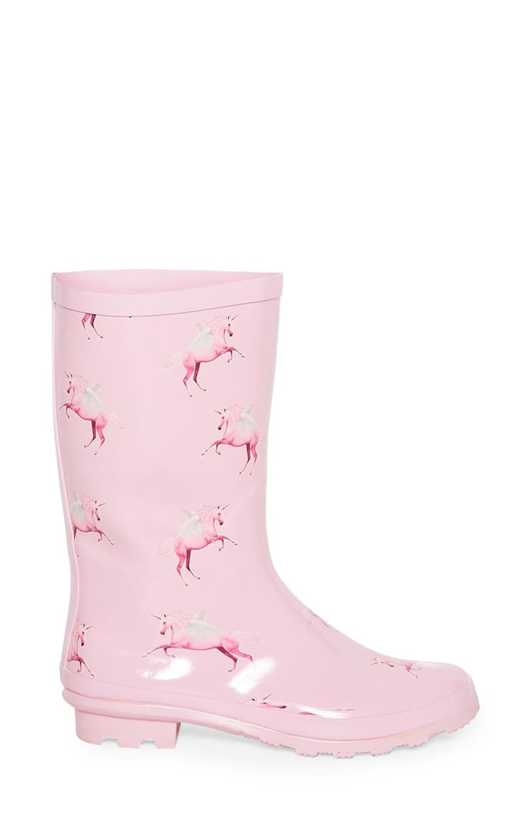 Bottes de pluie roses à imprimé licorne 3