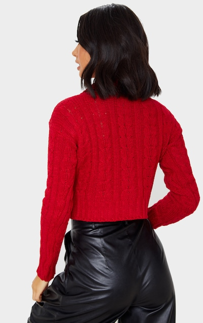 Red All Over Cable Knit Roll Neck Crop Jumper