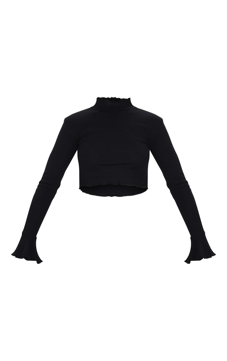 Black Rib Frill Detail Long Sleeve Crop Top 5