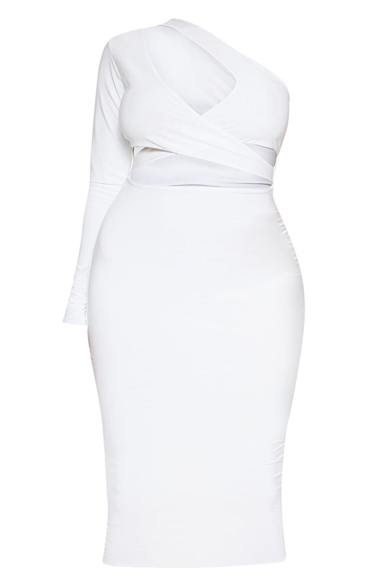 Plus White Cut Out One Shoulder Midi Dress 3