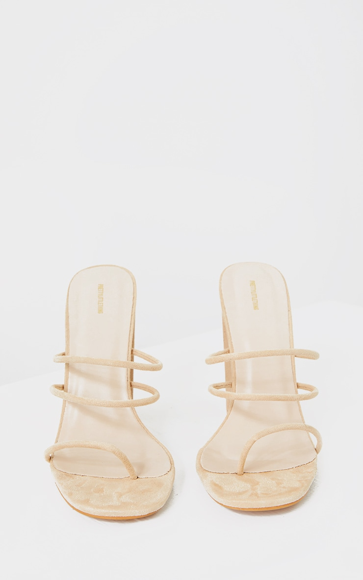 Nude Thin Triple Tube Strap Toe Loop Block Heel Mule 3
