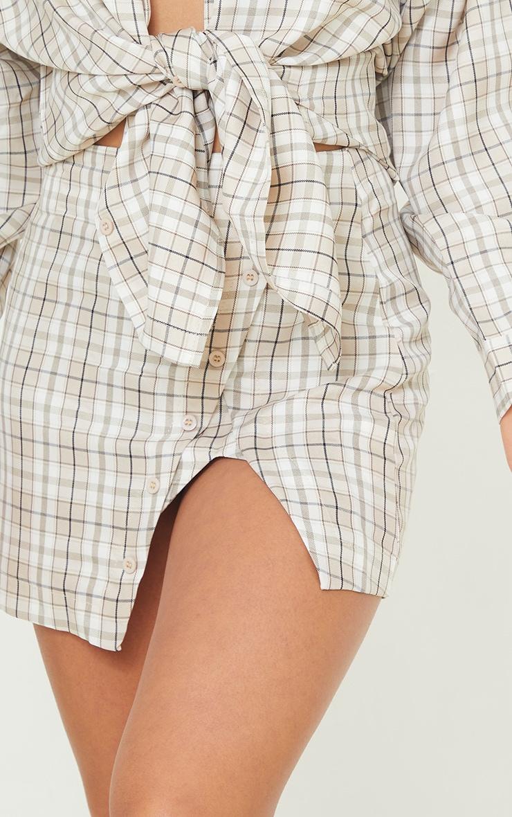 Petite Stone Checked Split Button Side Mini Skirt 5