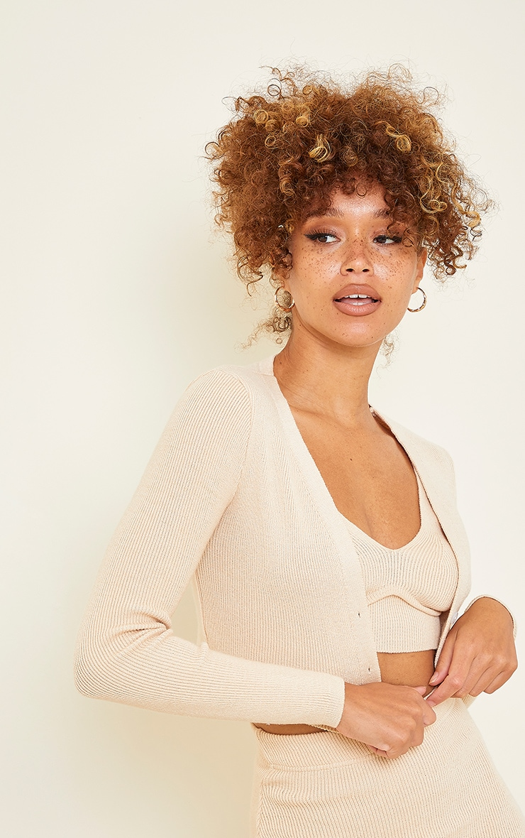 Stone Ribbed Knitted Cropped Cardigan 4
