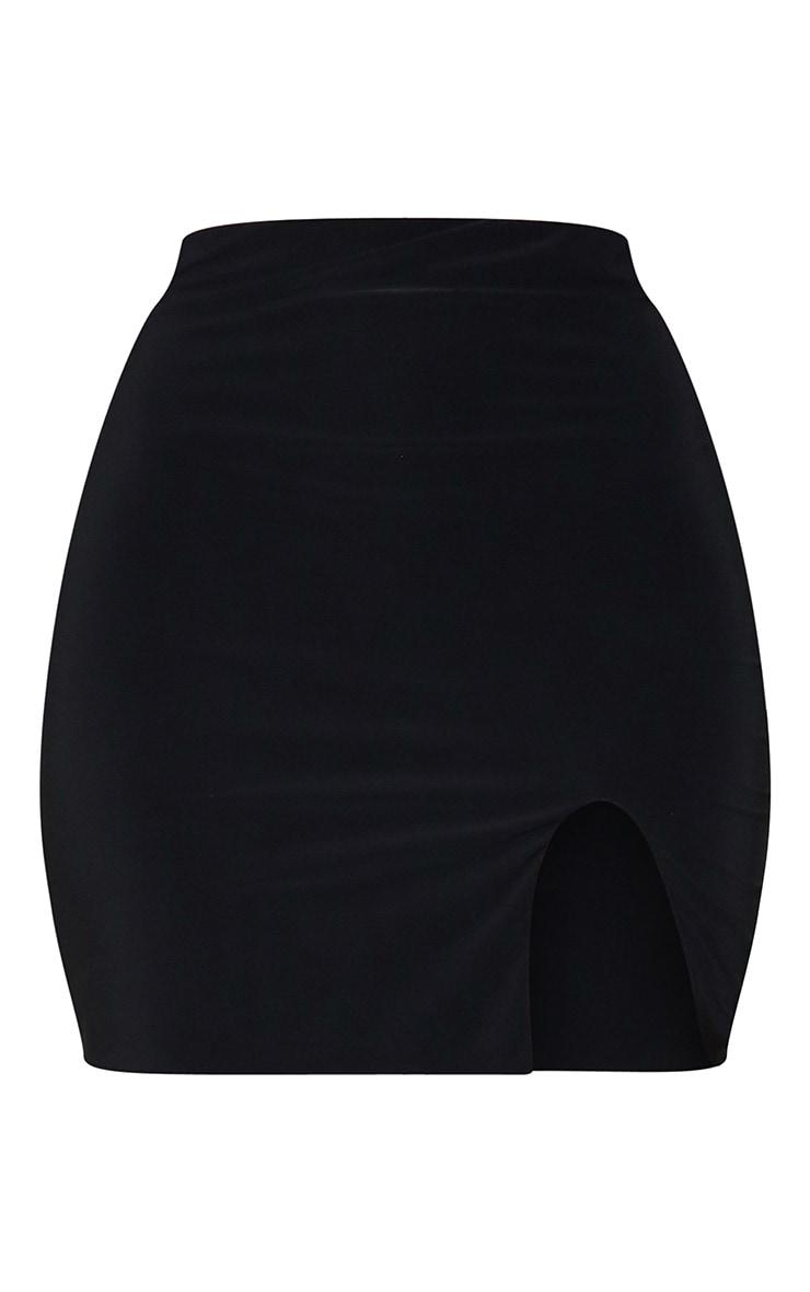 Black Slinky Slit Hem Mini Skirt 6
