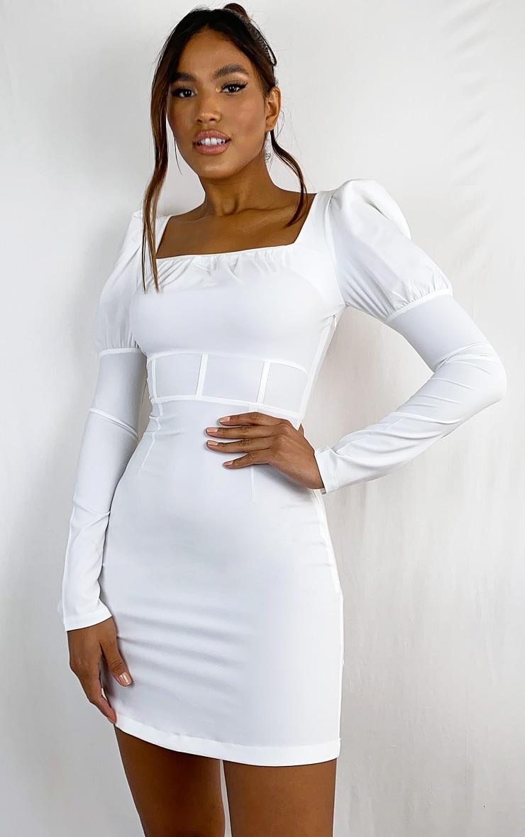 White Puff Sleeve Square Neck Waist Detail Shift Dress 1