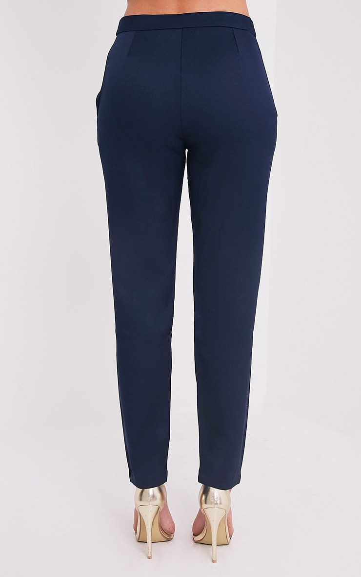 Avah Navy Tie Waist Cigarette Trousers 5