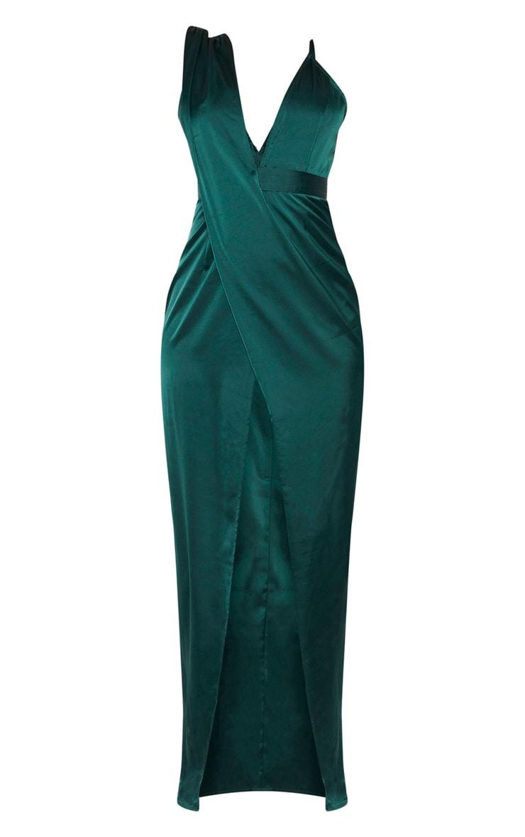 Emerald Green Asymmetric Drape Detail Maxi Dress 3
