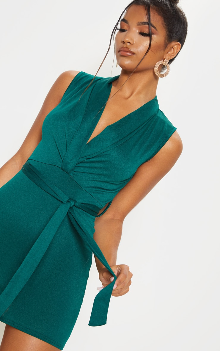 Emerald Green Lapel Detail Plunge Bodycon Dress 5