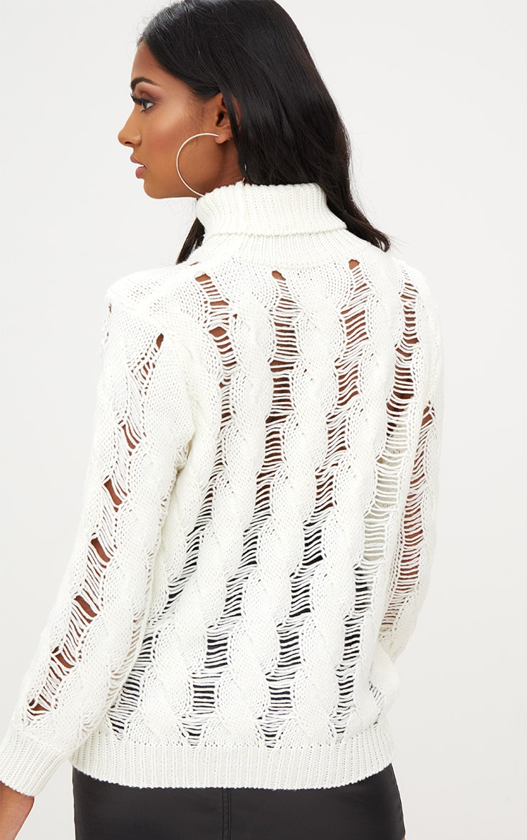 Cream Roll Neck Distressed Knitted Jumper  2