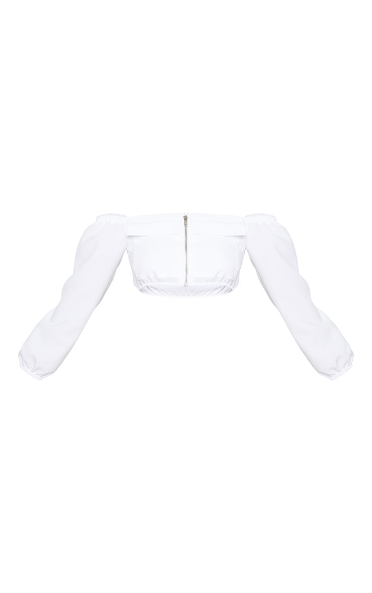 Petite White Pocket Detail Cargo Bardot Crop Top 3