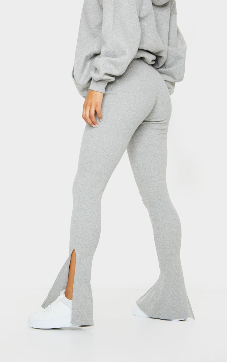 Grey High Waisted Textured Rib Split Hem Trouser 3