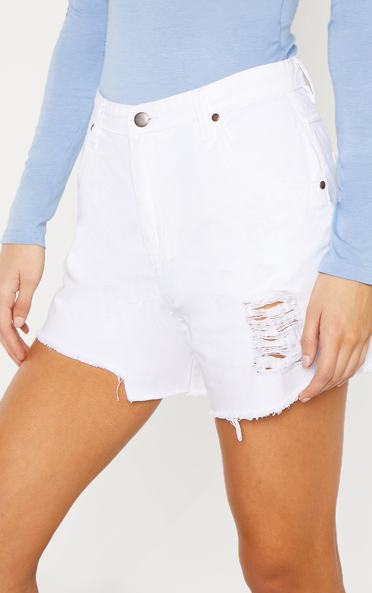 92fd25486d Tall White High Waisted Distressed Frayed Hem Denim Shorts image 5