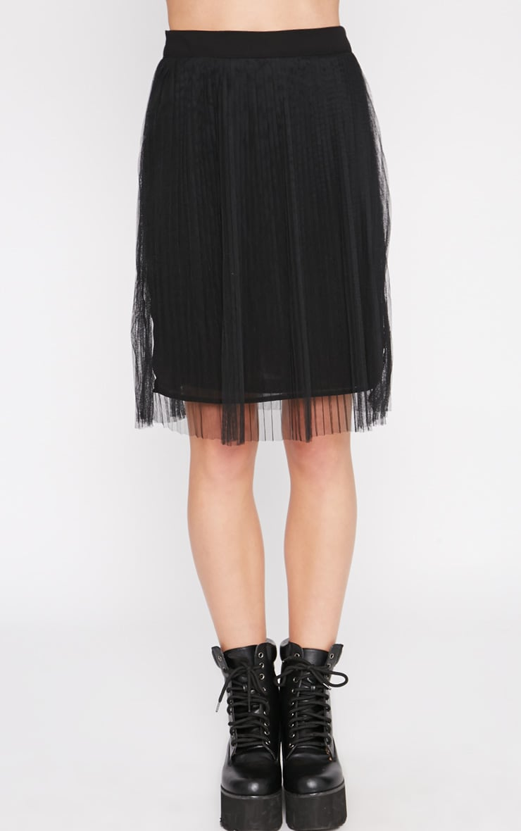 Senti Black Pleated Mesh Skirt-XS 2